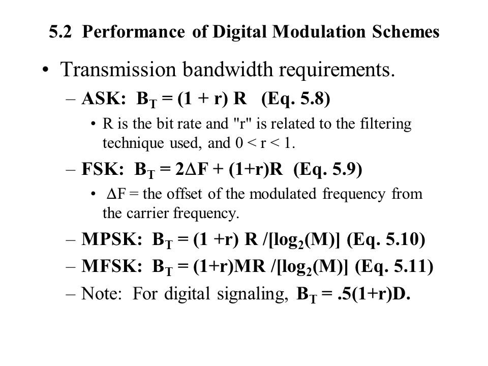 5.2 Performance of Digital Modulation Schemes