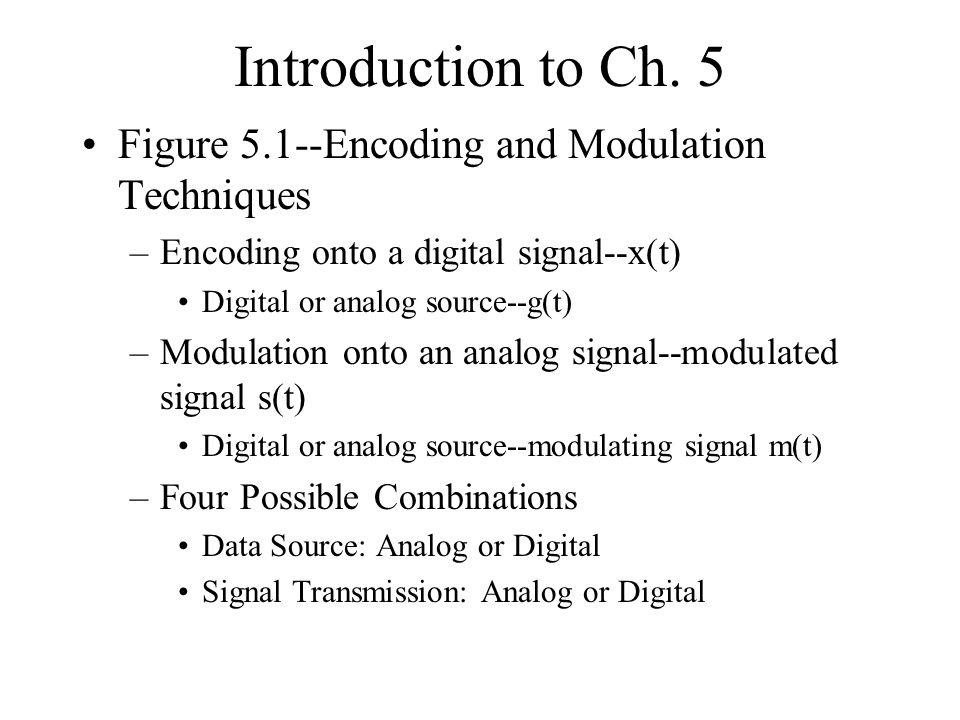 Introduction to Ch. 5 Figure 5.1--Encoding and Modulation Techniques