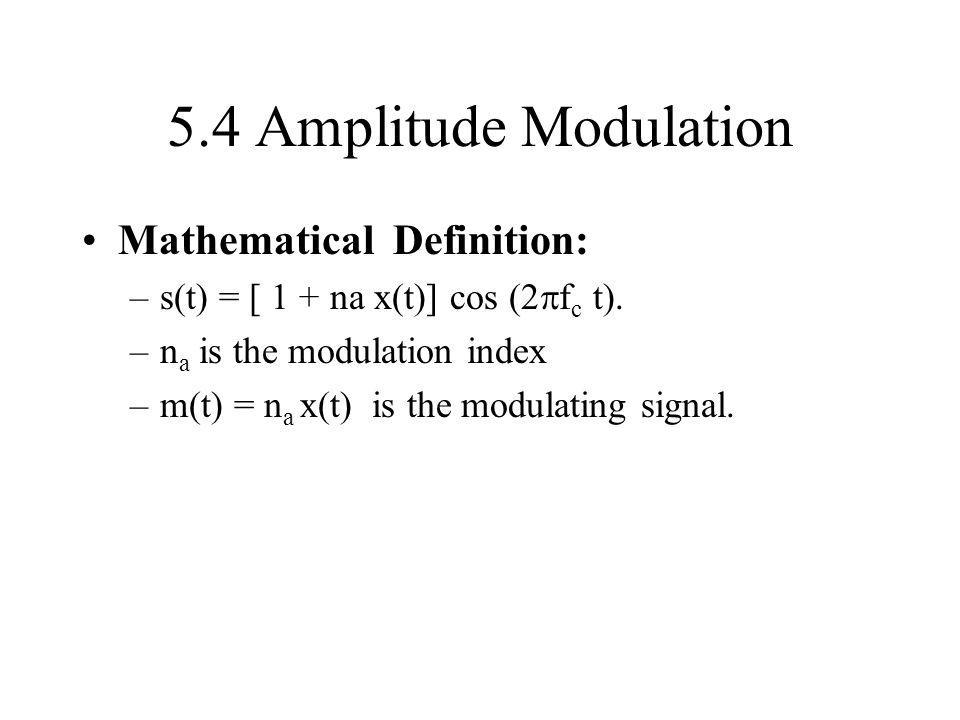 5.4 Amplitude Modulation Mathematical Definition: