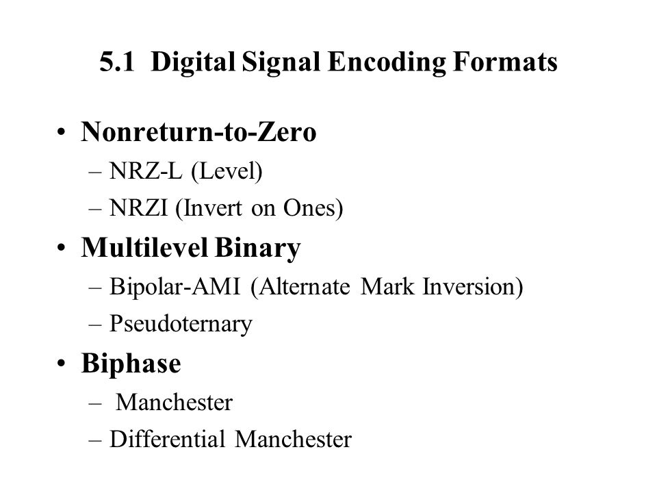 5.1 Digital Signal Encoding Formats