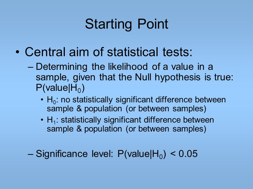 Starting Point Central aim of statistical tests: