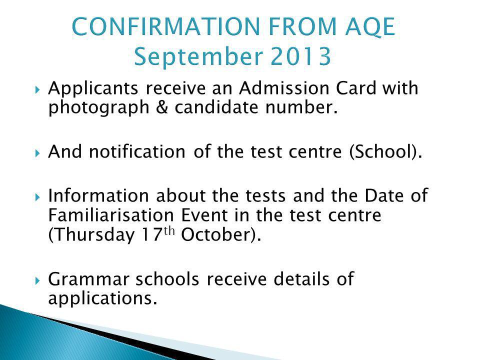 CONFIRMATION FROM AQE September 2013