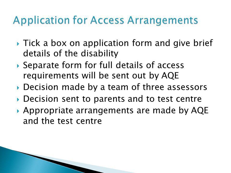 Application for Access Arrangements