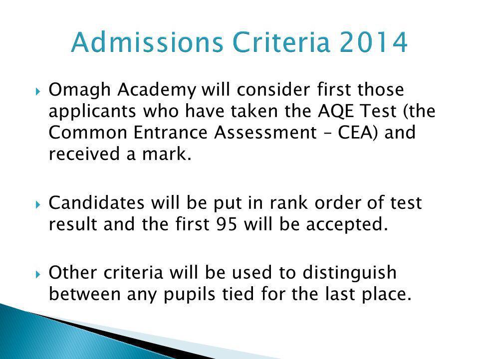 Admissions Criteria 2014
