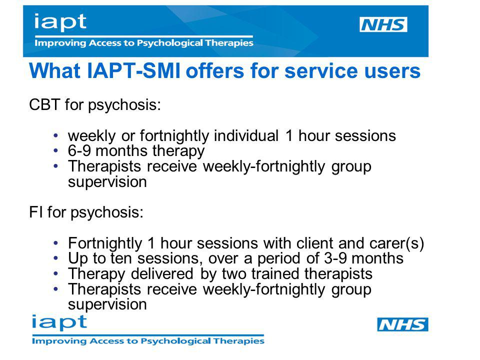 What IAPT-SMI offers for service users
