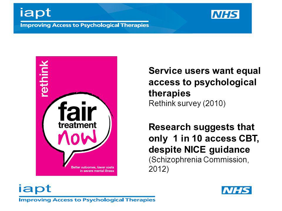 Service users want equal access to psychological therapies