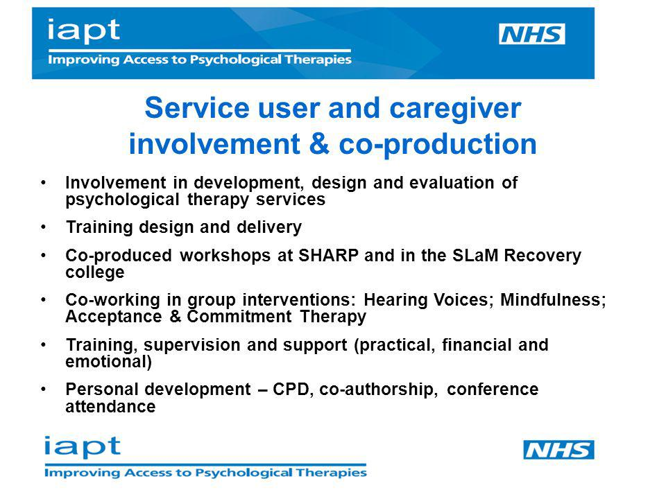 Service user and caregiver involvement & co-production