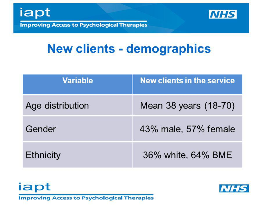 New clients - demographics New clients in the service