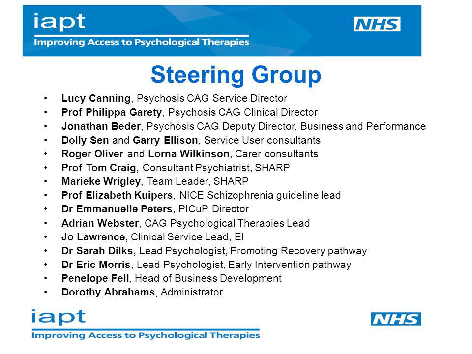 Steering Group Lucy Canning, Psychosis CAG Service Director