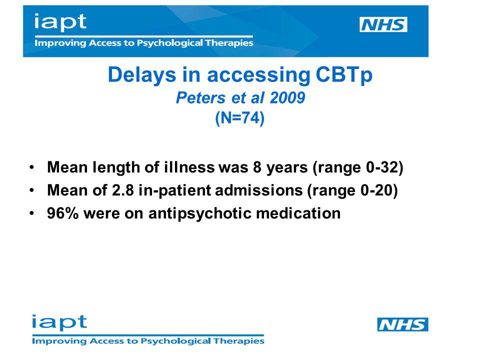 Delays in accessing CBTp Peters et al 2009 (N=74)