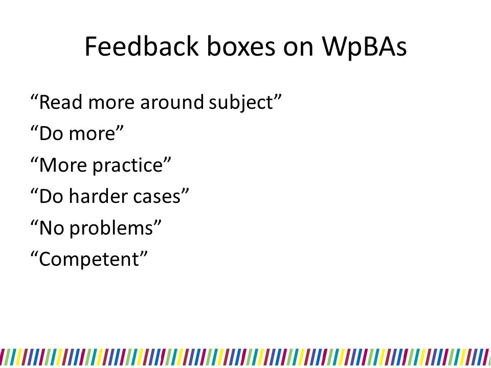 Feedback boxes on WpBAs