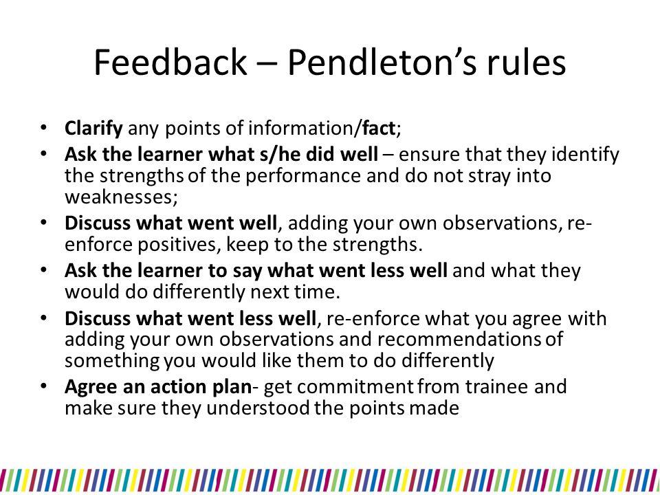 Feedback – Pendleton's rules