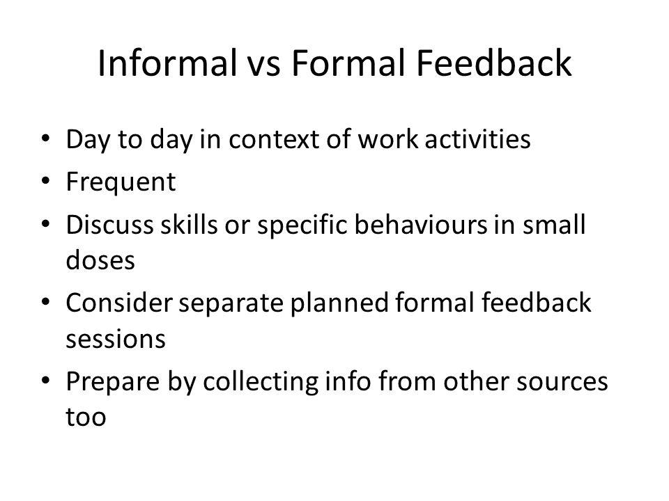 Informal vs Formal Feedback