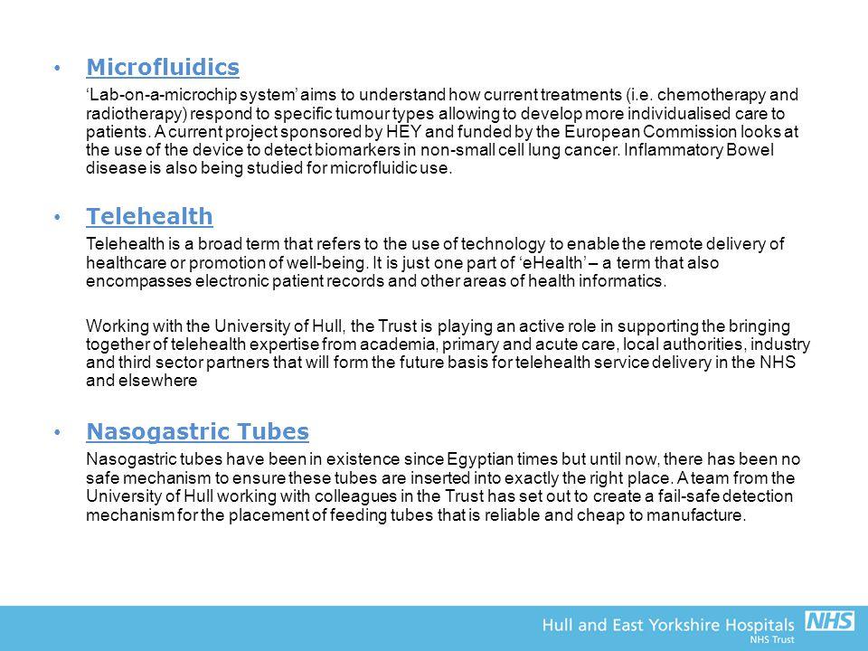 Microfluidics Telehealth Nasogastric Tubes