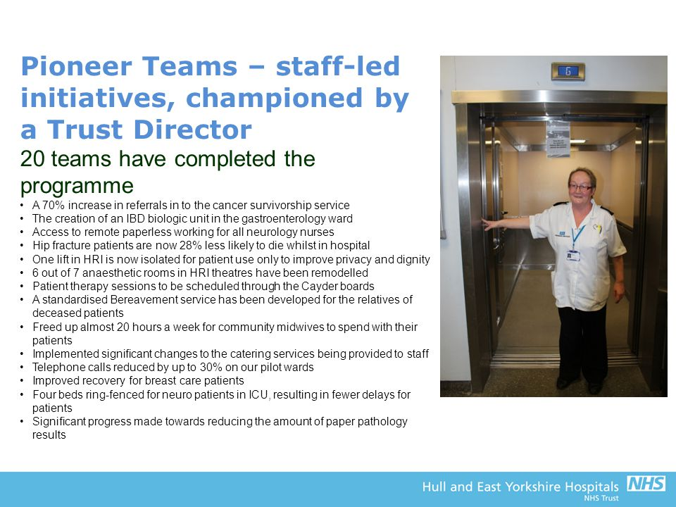 Pioneer Teams – staff-led initiatives, championed by a Trust Director