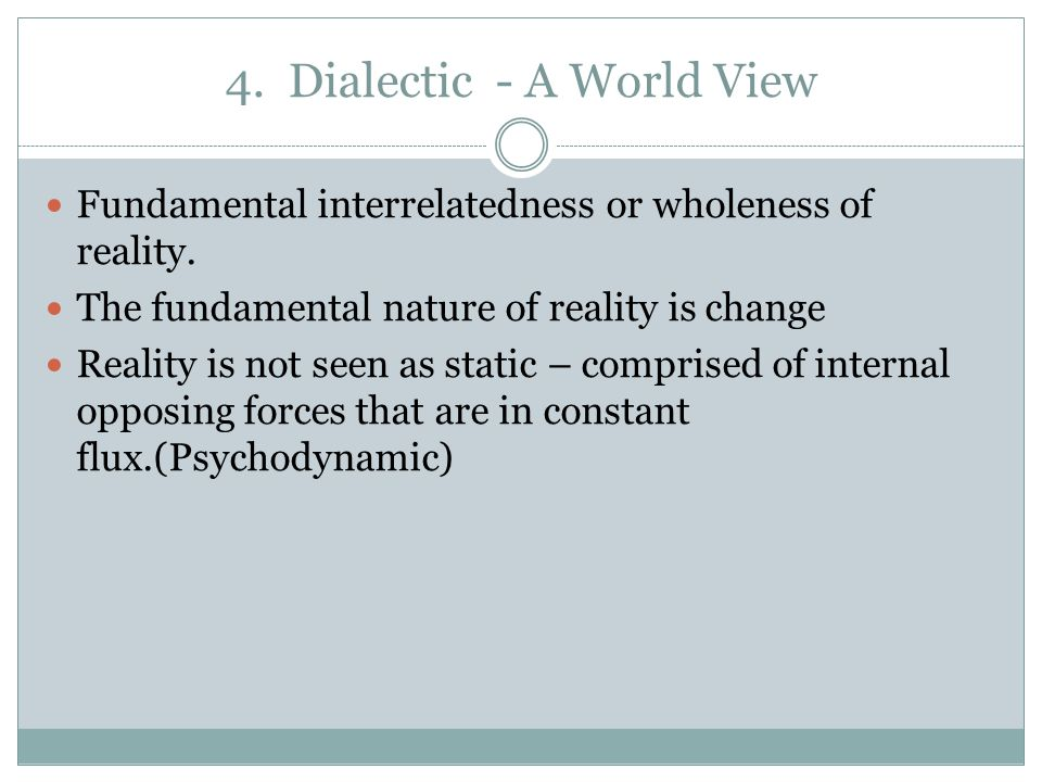 4. Dialectic - A World View