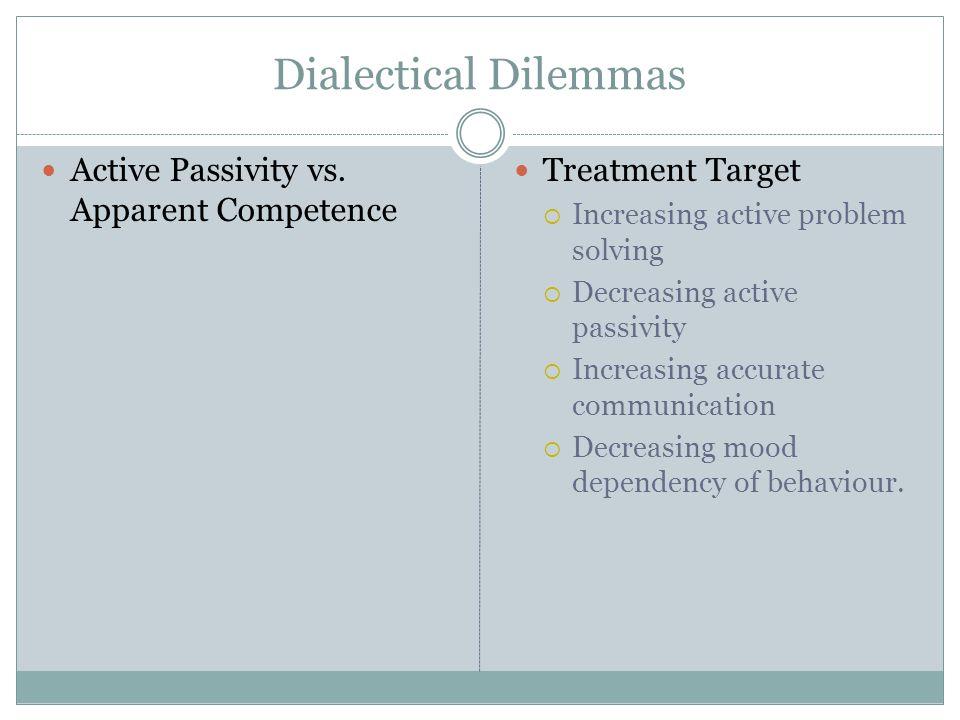Dialectical Dilemmas Active Passivity vs. Apparent Competence