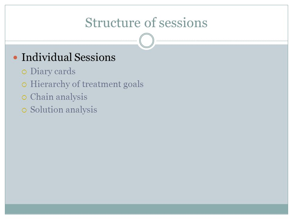 Structure of sessions Individual Sessions Diary cards