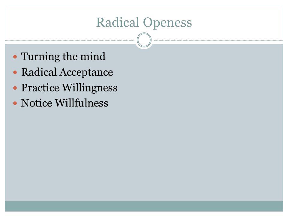 Radical Openess Turning the mind Radical Acceptance