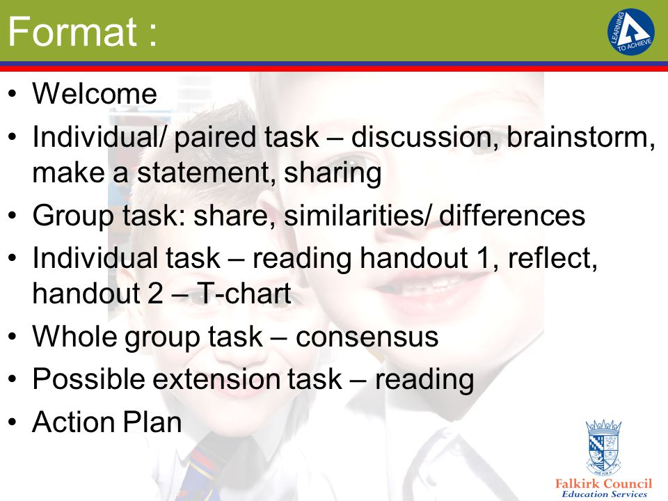 Format : Welcome. Individual/ paired task – discussion, brainstorm, make a statement, sharing. Group task: share, similarities/ differences.