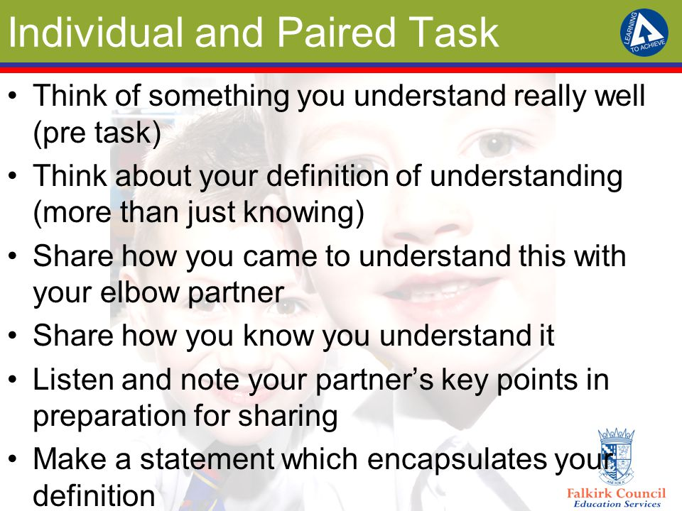 Individual and Paired Task