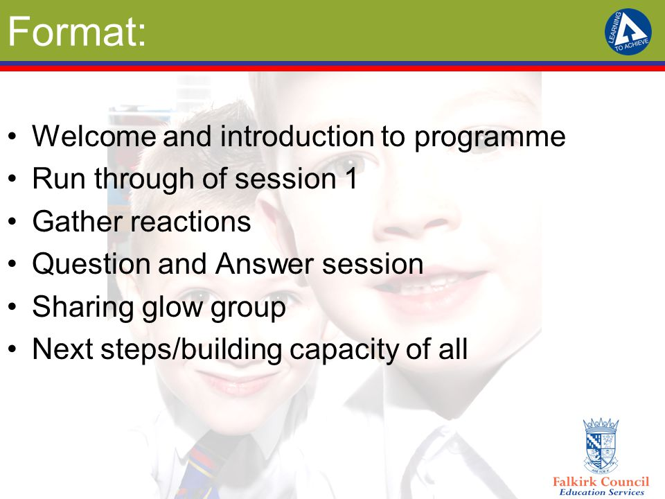 Format: Welcome and introduction to programme Run through of session 1