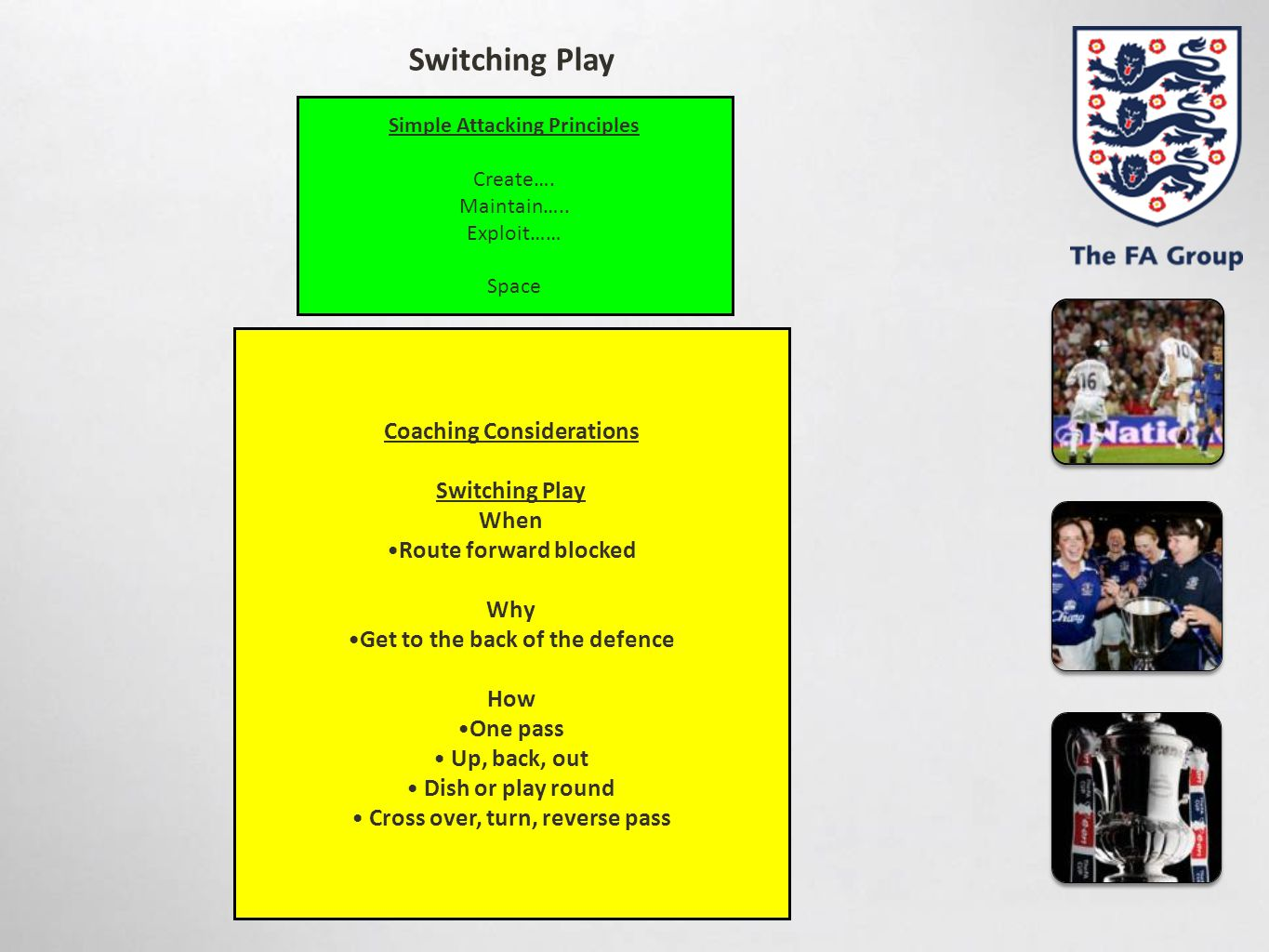 Switching Play Coaching Considerations Switching Play When