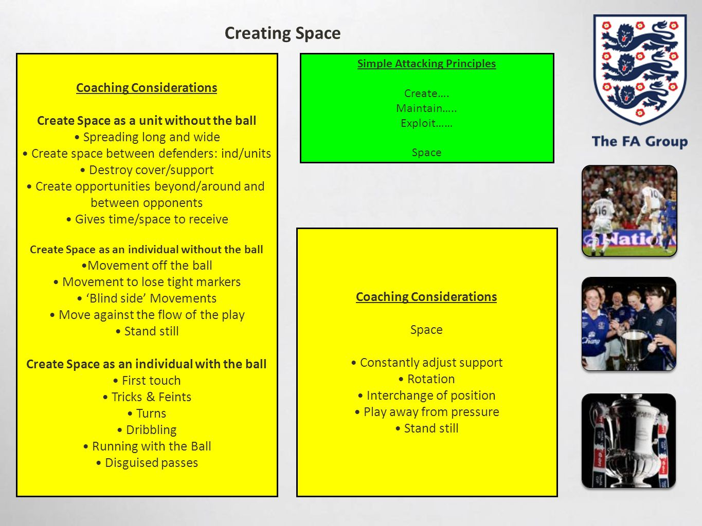 Creating Space Coaching Considerations