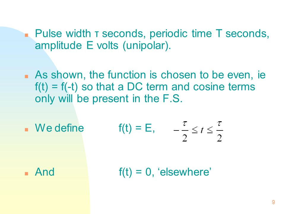 Pulse width τ seconds, periodic time T seconds, amplitude E volts (unipolar).