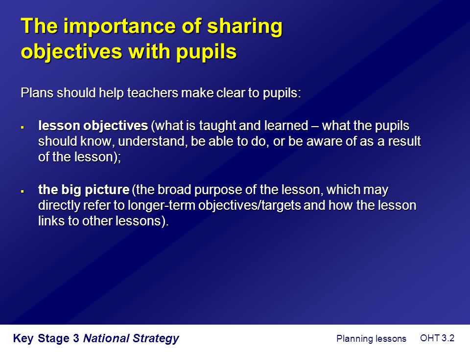 The importance of sharing objectives with pupils
