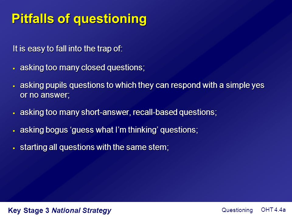 Pitfalls of questioning