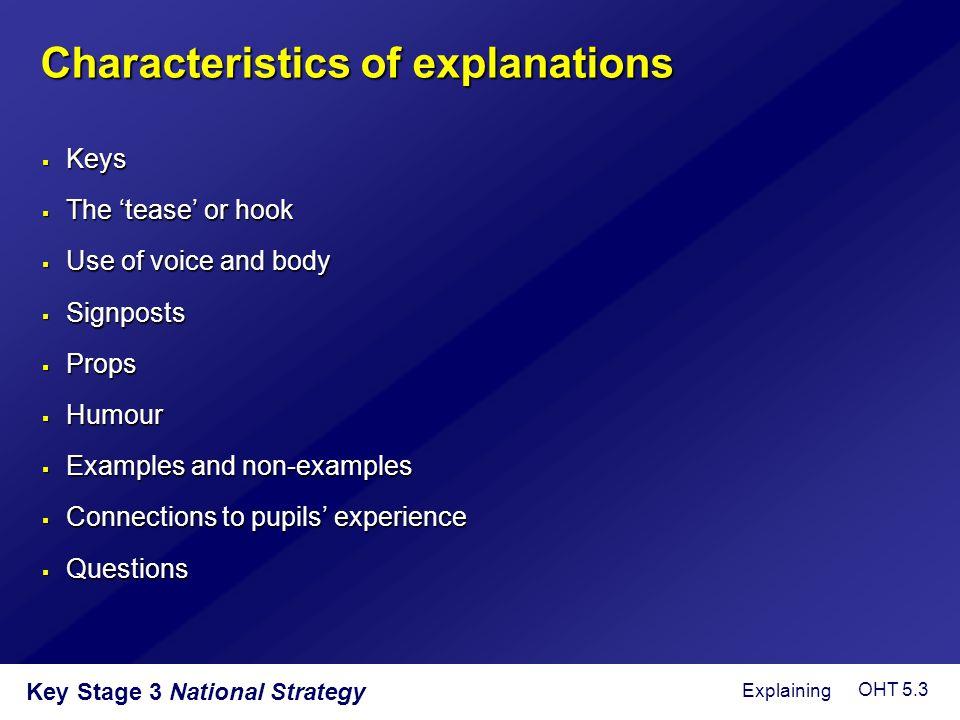 Characteristics of explanations