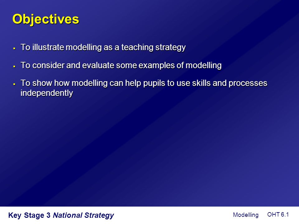 Objectives To illustrate modelling as a teaching strategy