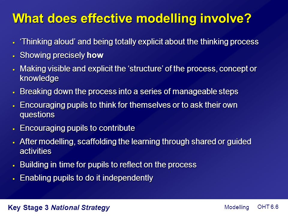 What does effective modelling involve