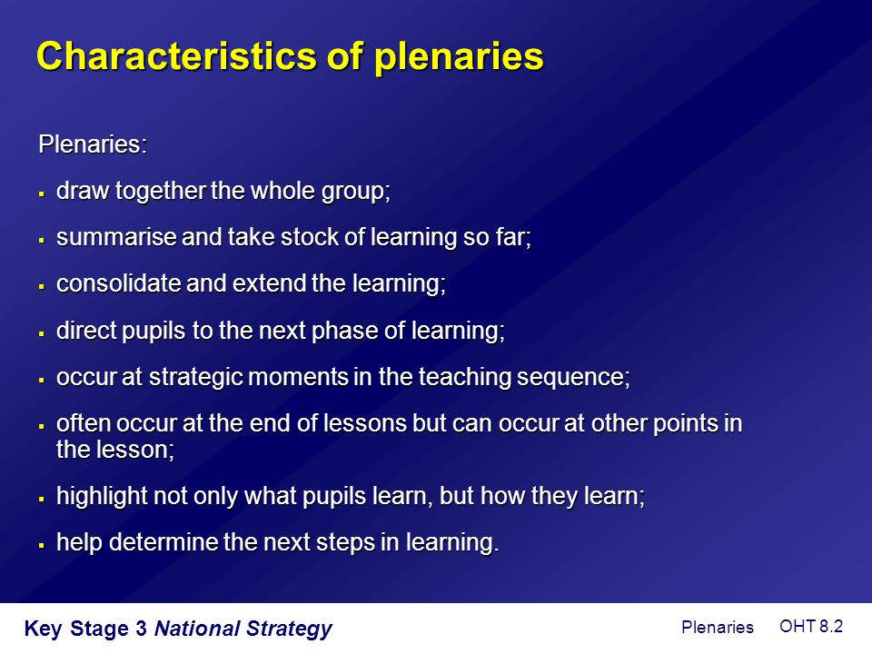 Characteristics of plenaries