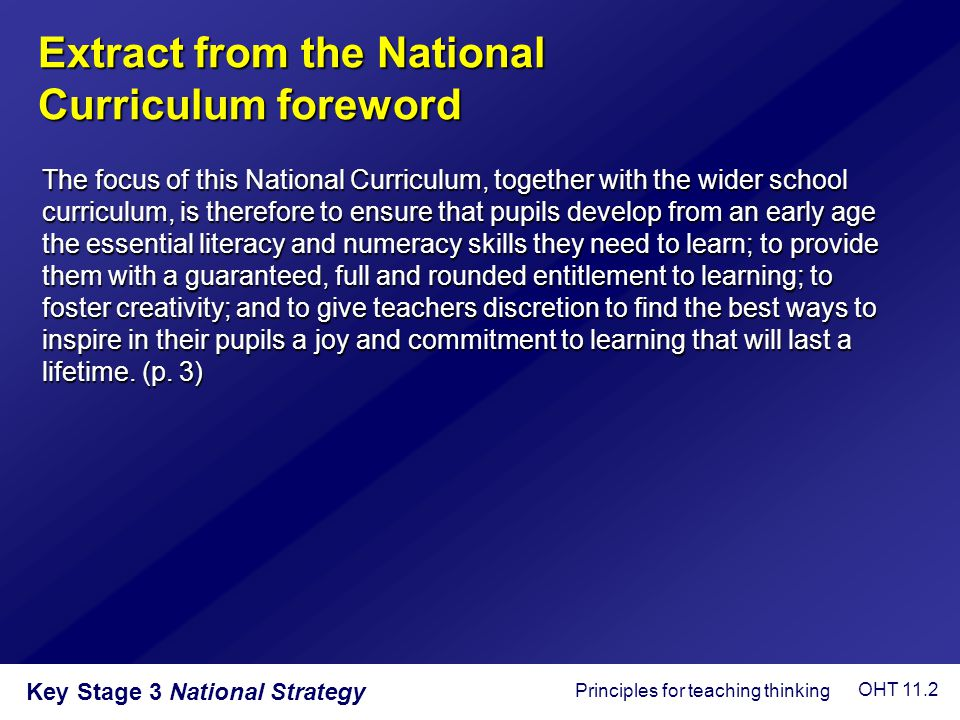 Extract from the National Curriculum foreword