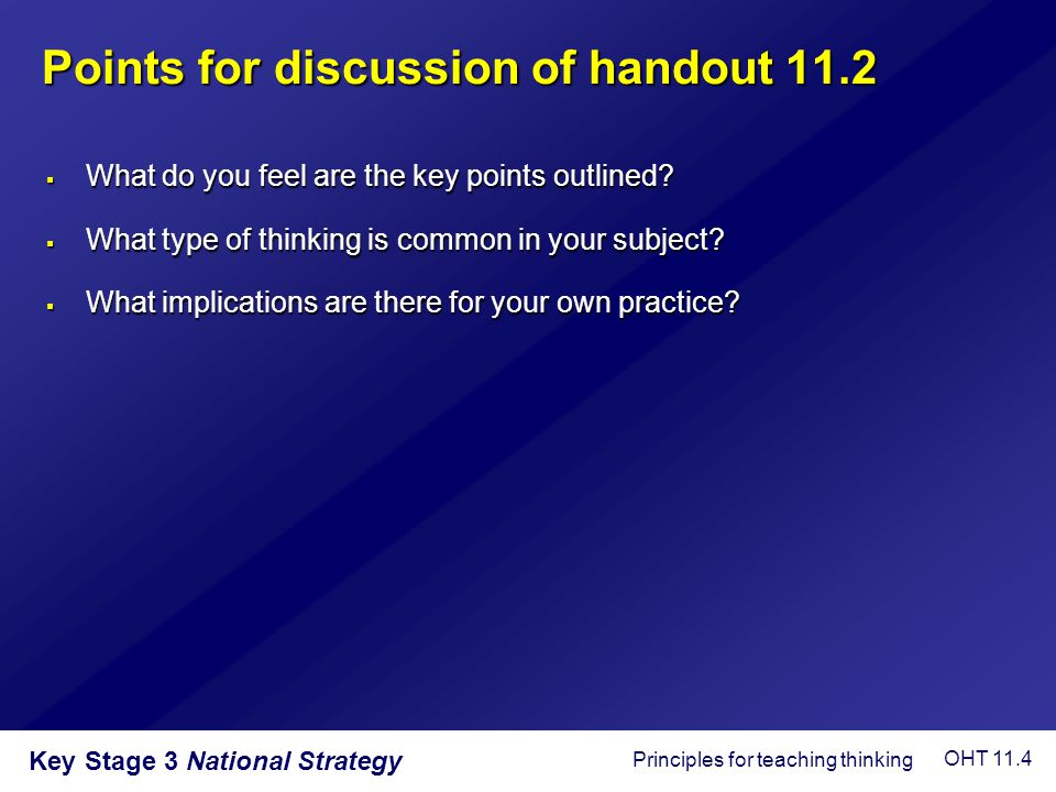 Points for discussion of handout 11.2