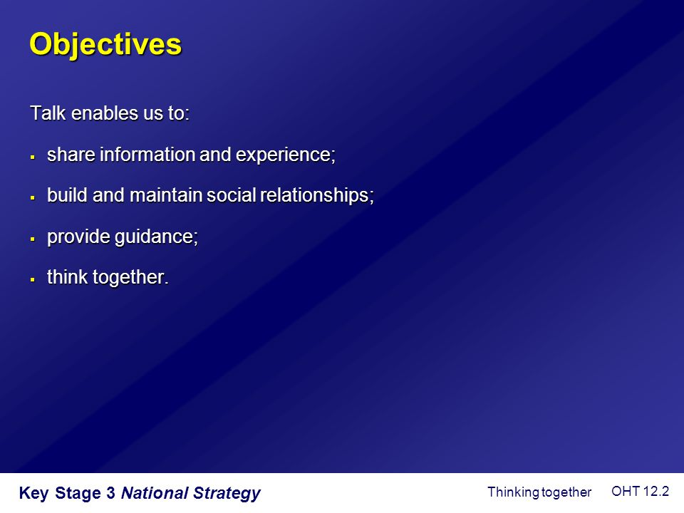 Objectives Talk enables us to: share information and experience;