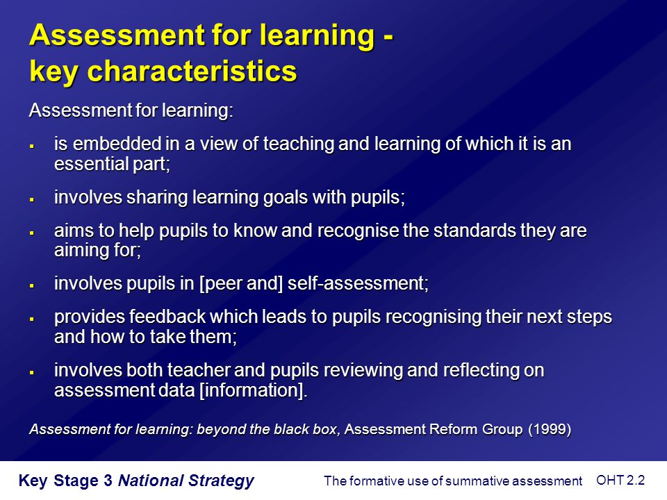 Assessment for learning - key characteristics