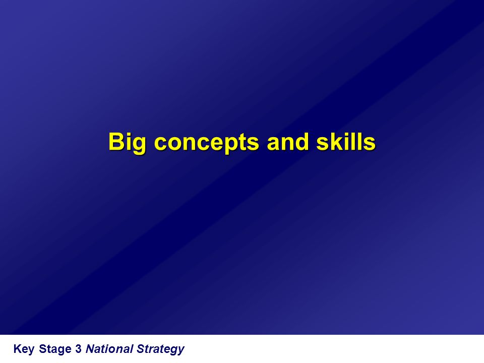 Big concepts and skills