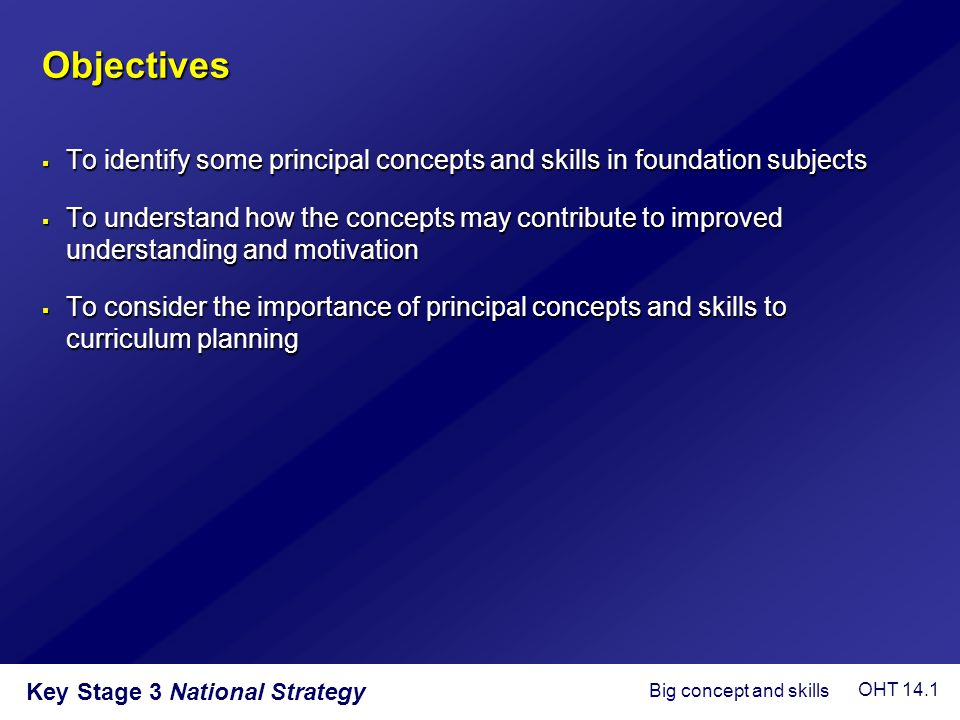 Objectives To identify some principal concepts and skills in foundation subjects.