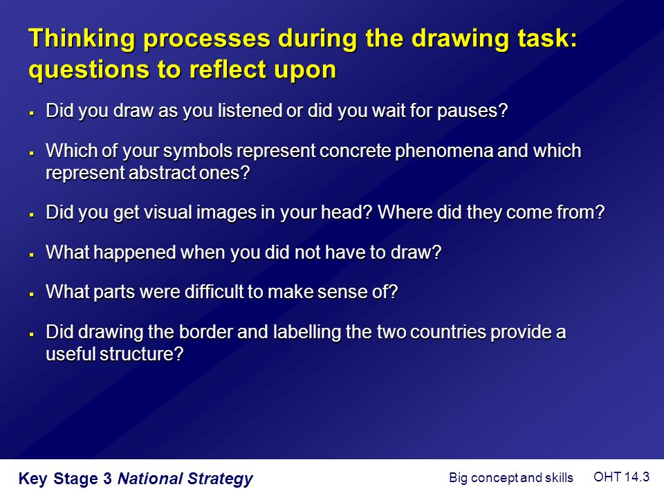 Thinking processes during the drawing task: questions to reflect upon