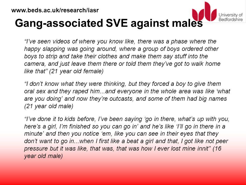 Gang-associated SVE against males