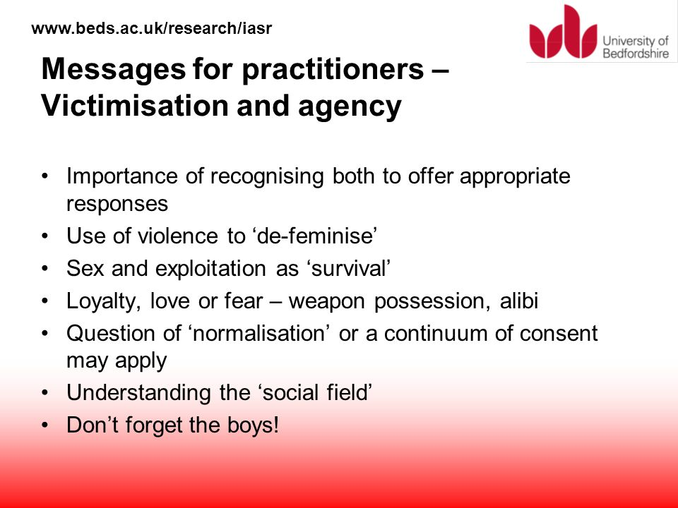 Messages for practitioners – Victimisation and agency