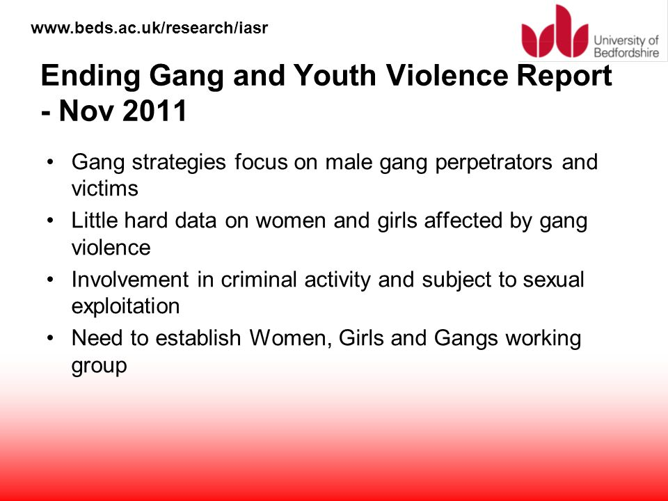 Ending Gang and Youth Violence Report - Nov 2011