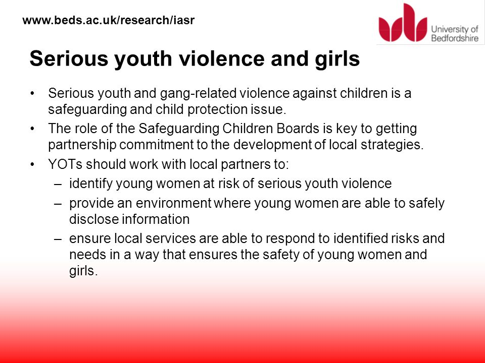 Serious youth violence and girls