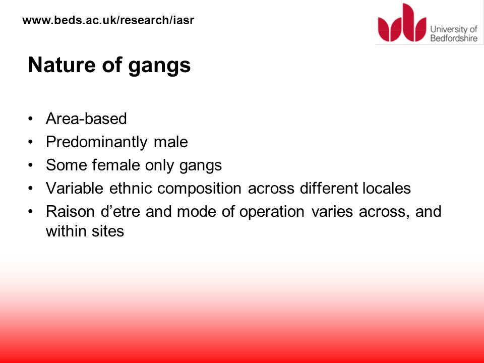 Nature of gangs Area-based Predominantly male Some female only gangs