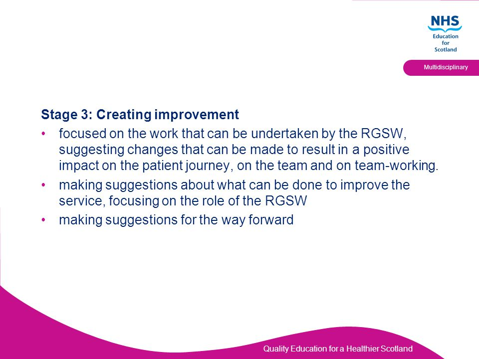 Stage 3: Creating improvement