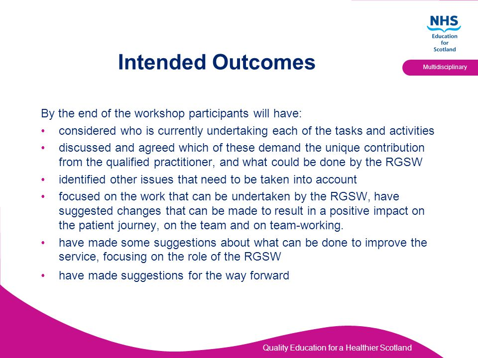 Intended Outcomes By the end of the workshop participants will have: