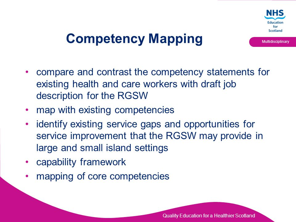 Competency Mapping compare and contrast the competency statements for existing health and care workers with draft job description for the RGSW.